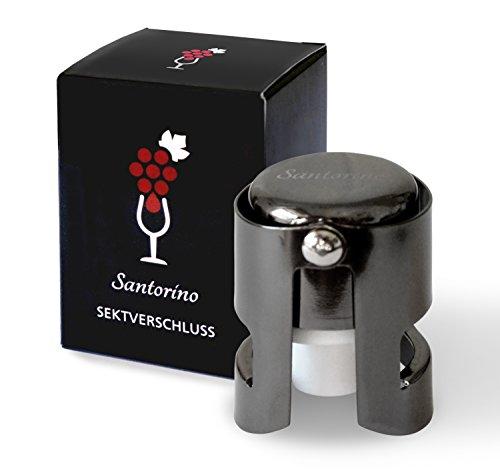 Santorino® Sektverschluss - Premium Sekt- und Champagnerverschluss aus dunklem Edelstahl - Exklusiv für Sekt und Champagner Flaschen ...