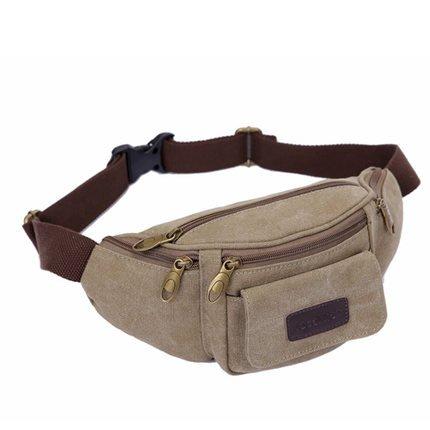 Leinwand Fanny Pack Travel Gürteltasche Hip Handtasche Gürteltasche Bauchtasche Taille Tasche Ideal für Reisen oder den täglichen Gebrauch - khaki