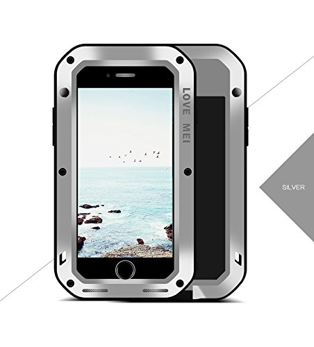 iPhone 8 Plus stoßfest Fall, wasserdicht Fall, Metall Fall, Original Love Mei Armor Tank stoßfest staubdicht Heavy Duty Aluminium Metall Case Hard Cover für iPhone 8 Plus (5.5 inch) mit Tempered Glas  Silber