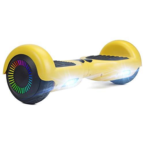 """HOVER-ONE Selbstausgleichender Elektroroller mit 2 Rädern, 6,5"""" selbstausgleichendes Hoverboard für Kinder und Erwachsene, Swegway-Board mit kostenloser Tragetasche, LED-Licht(Gelb)"""