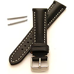 Heavy Padded Leather Watch Strap (20mm - White Stitch)