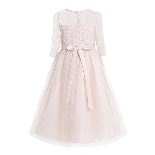 Freebily Blumenmädchenkleid Mädchen Spitze Prinzessin Kleid Festliche Kleidung für Hochzeit...