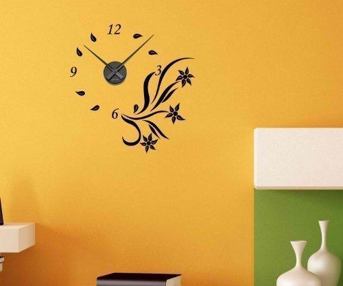 Wandtattoo Uhr Blumen 55cmx57cm Blüten Tattoo Sticker Wanduhr Aufkleber 1X134, Farbe:Schwarz Matt;Farbe der Uhr:Farbe der Uhr Schwarz