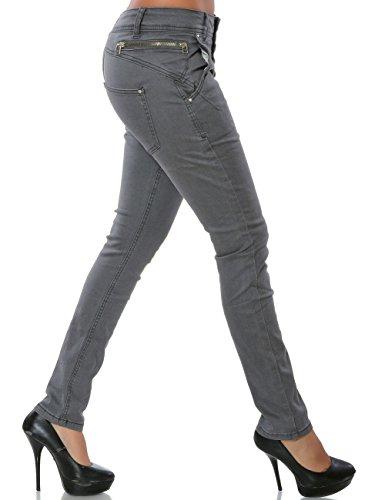 Damen Jeans Hose Skinny Knopfleiste (Röhre) No 15832 Grau
