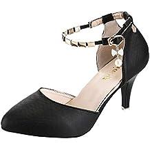 58b259a7e1fdb3 Solike Escarpin Femme Sexy Escarpin à Talons Aiguille en Boucle Chaussures Cheville  avec Mode Pointus Stilettos