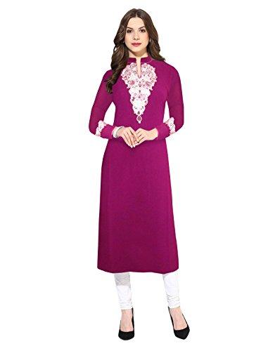 1 Stop Fashion Women's Georgette Straight Kurti (OS50401-L_Multi Color_Large)