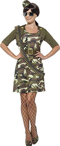 (Smiffys 45503L - Damen Kampf Kadett Kostüm, Kleid, Jacke, Gürtel, Hut und Flieger Brille, Größe: 44-46, grün)