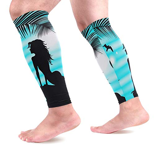 Wfispiy Beautiful Mermaid Calf Compression Sleeves Shin Splint Support Leg Protectors Calf Pain Relief for Running, Cycling, Travel, Sports for Men Women (1 Pair) -