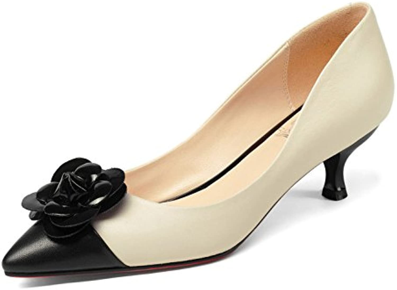 DKFJKI Frauen Feine und Mittlere Saison Schuhe Gemischte Farben Blumen Flache Mund Schuhe Wilde Mode Kleid