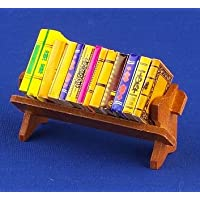 12th Scale Dolls House Accessory - Books On Wooden Rack S10151