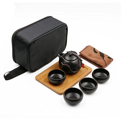 Portable Travel Kungfu Tea Set Handmade Chinese/ Japanese Vintage, Porcelain Teapot & 4 Teacups & Bamboo Teatray & Storage Bag (Black)