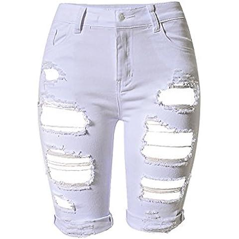 SaiDeng Donna Jeans Shorts In Denim Hole Boyfriend Pantaloncini Corti Lunghezza Media Pantaloni Bianco 46