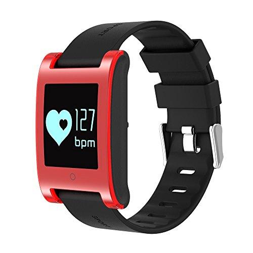 Fitness Tracker, Smart Armband Activity Tracker Herzfrequenz Monitor Fitness Gesundheit Smartwatch Wristband Bluetooth Schrittzähler mit Sleep Monitor / Step Tracker / Kalorienzähler für Android und iOS Smartphones ( Color : Red )