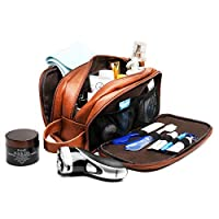 Leather Toiletry Bag for Men,Large Capacity Waterproof Travel Dopp Kit with Sturdy Handle,Perfect Travel Oragnizer for Toiletries