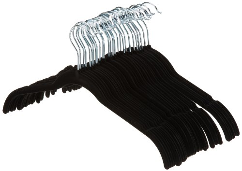 AmazonBasics Lot de 30 cintres en velours pour chemises/robes Noir