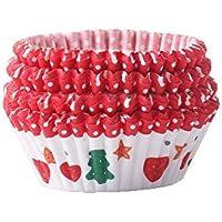 Chinashow 100 Pieza Resistente al Calor Cupcake Wrappers Navidad Reno Imprimir Moldes para Cupcakes
