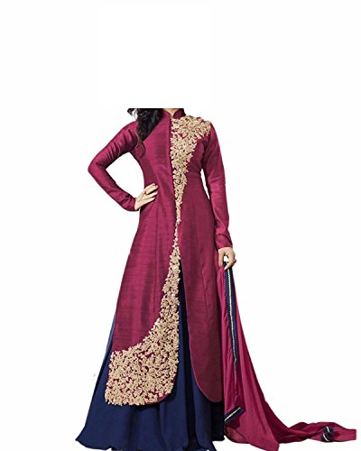 Fashion Vogue Girls Maroon Colour Banglory Silk Un-Stitched Lehenga Choli,Gown,Salwar Suits,Dresses [Free Size 8-12 Age]