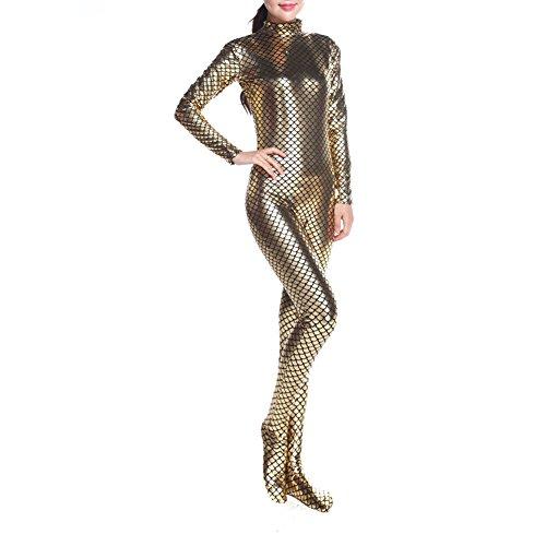 Muka Erwachsene langen Ärmeln Unitard Body Dancewear Meerjungfrau Kostüm, Gold, PUKH-DK31137_GOLDEN-XL (Ärmel Goldene Lange)