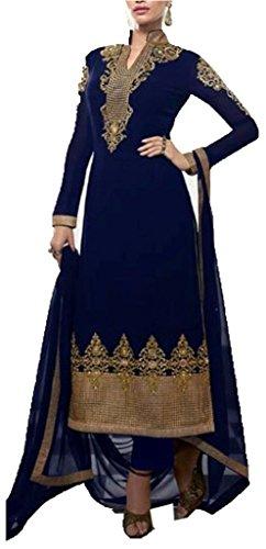 Leepee fashions STRAIGHT CUT STYLE BLUE WITH RESHAM WORK UNSTITCHED SALWAR KAMEEZ...