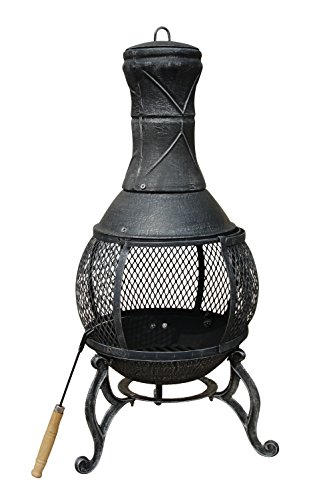 Charles Bentley 89Cm Large Open Bowl Mesh Cast Iron Chiminea Patio Heater Black / Bronze