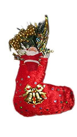 mashmart 2016Chaussette de Noël en forme de Père Noël et détails cousus (Rouge)