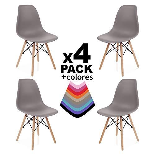 duehome - Nordik - Pack 4 sillas, Silla de Comedor, Salon, Cocina o Escritorio, Patas Madera de Haya, Dimensiones: 47 x 56 x 81 cm de Altura (Marrón)