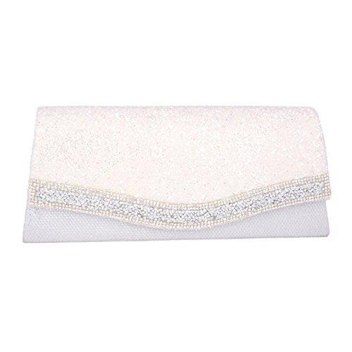 Adoptfade Damen Glanzende Abendtasche Mit Blitzpulver Und Strass, Weiß