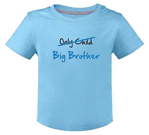 Camiseta para niños - Only Child to Big Brother - Regalo para Futuro Hermano Mayor 18M Celeste