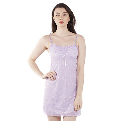 NTW-049;M Pretty Chemise Nightdress in Lilac Floral embroidered Tulle (Chemise Lilac)