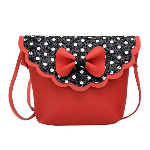 Dorical Geldbörse für Kinder Kleinkinder Süße kleine Mädchen Umhängetasche Handtasche, Prinzessin Mini Taschen, Bowknot Dot Punkt Cross Body Messenger Bag(Schwarz)