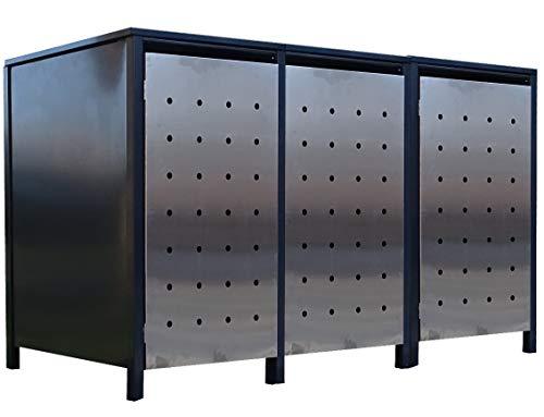 *3X Premium 240 Liter Tailor Mülltonnenboxen mit Stanzung 1 / Farbe Anthrazit/Tür-Edelstahl/Verschönern Sie Ihre unansehnliche Mülltonnen in Ihrem Hof und Garten!*