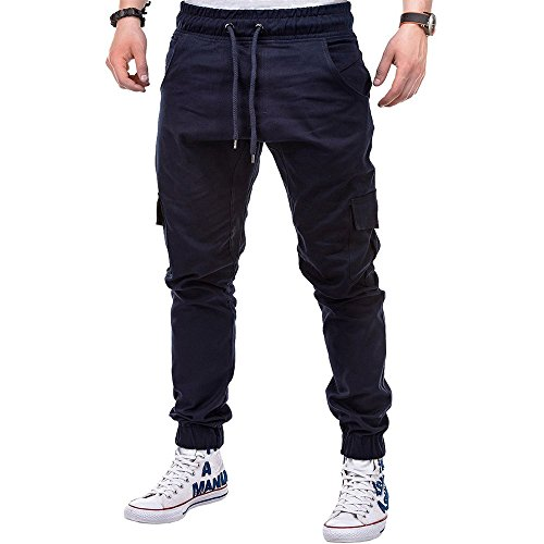 OSYARD Herren Lange Sporthose Jogginghose Sweatpants Pure Color Kordelzug Hose Straight Trainingshose, Multi-Pocket-Kampf Drawstring Pant Cargo Pants (XL, Marine )