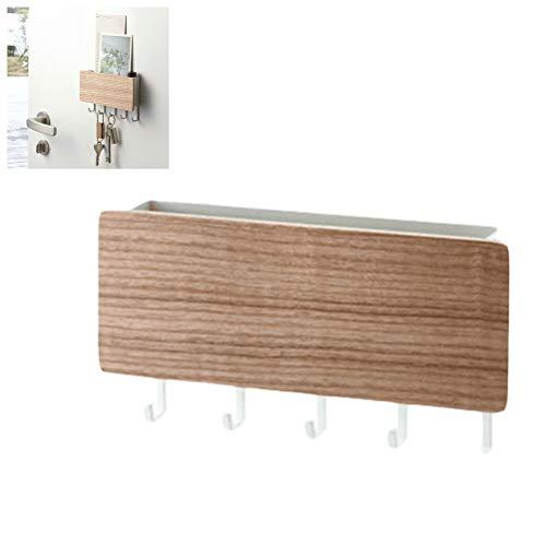 Xeples Holz Schlüssel Haken Rack Kleiderbügel Wandregal Mail Brief und Schlüssel Halter Organizer mit 5 Haken (Schlüssel Holz Haken)