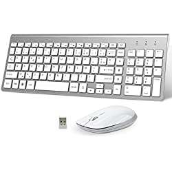 FENIFOX Clavier Souris sans Fil,AZERTY USB 2.4Ghz Ergonomique2400 DPI pour macOS Windows, PC, Smart TV, Ordinateur Portable Blanc+Argent
