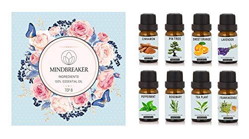 Set de aceites esenciales de aromaterapia orgánica - TOP8 Difusores de aceite, incienso, lavanda, árbol de té, naranja dulce, menta, canela, aguja de pino, romero para el hogar, oficina, sueño, yoga