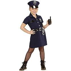 Nerd Clear® Polizistin Disfraz para niños de 5 Piezas: Sombrero, Vestido con Dibujo, cinturón, Esposas, 128
