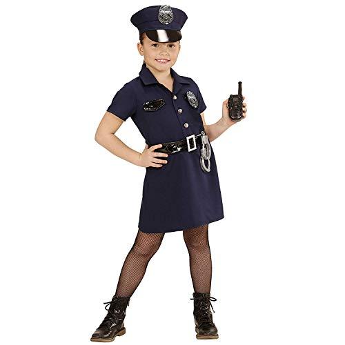 Ein Für Nerd Kostüm Schuhe - Nerd Clear Polizistin Kostüm für Kindern | 5-teilig: Hut, Kleid mit Abzeichen, Gürtel, Handschellen: Größe: 128