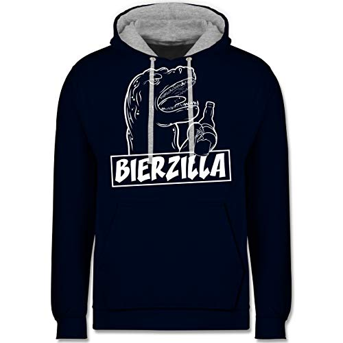 Shirtracer Halloween - Bierzilla - XL - Navy Blau/Grau meliert - JH003 - Kontrast Hoodie