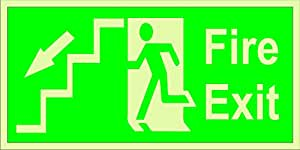 I Mas Fashion Night Glow Fire Exit Staircase Signage 12 Inch X 6 Inch Set Of 3 Amazon In Office Products