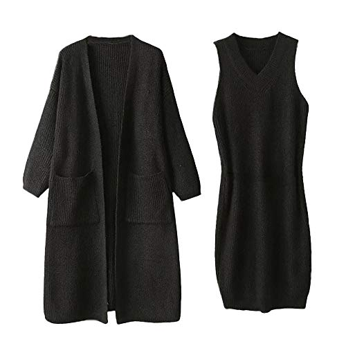Ansenesna Damen Herbst Winter Lang Strick Locker Cardigan und Pullover Kleid Warm Elegant Freizeit Kleidung Set Für Frau Mädchen (Schwarz) (Lässig Elegante Strick)