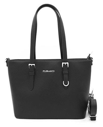 Flora CO -Sac à main porté épaule/Sac de ville rigide/sac femme bandoulière - Saffiano (Noir)