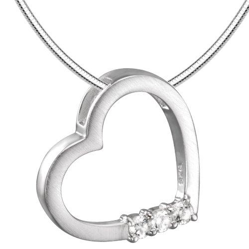 Vinani Anhänger Diamond Heart Herz mit Zirkonia weiß mattiert Schlangenkette 42 cm Sterling Silber 925 Kette Italien ADH42