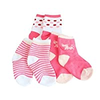 Pack of 3 Baby Boys Girls Unisex Stripes Winter Thick Socks Age 1 to 3 (Pink Cat)