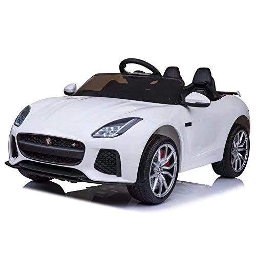 BAKAJI Auto Elettrica Bambini Jaguar F-Type 12V con Doppio Sedile in Pelle Fari a LED Radio FM MP3 USB SD e Telecomando (Bianco)