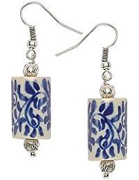 Anuva Hand Cermaic Metal Painted Ceramic Beads Earrings for Women(White)