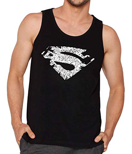 Veirdo Men's Cotton Superman Printed Sleeveless Round Neck T-Shirt (Black, Large)