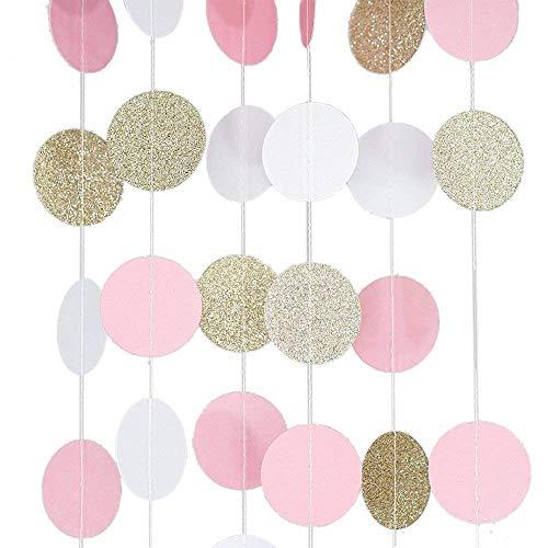 ckungen * 3M Papier Girlande Gold Rosa Weiß Rund Glitzer Hängende Girlande Mini Girlande für Hochzeit Deko Party Kinderzimmer Geschenk ()