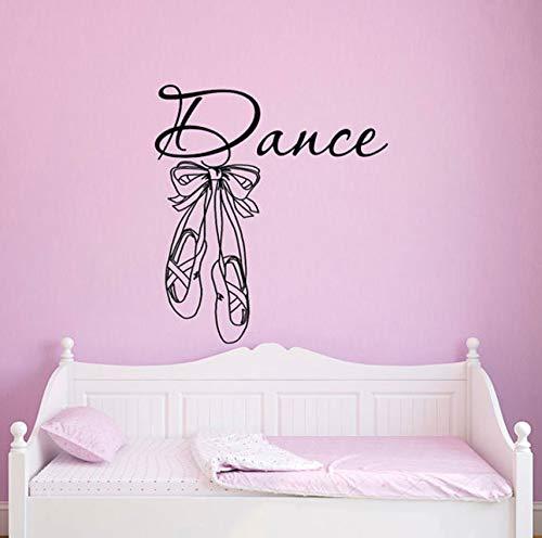Finloveg Tanz Wandtattoos Aufkleber Ballettschuhe Hausschuhe Ballerina Kunst Wohnkultur Mädchen Schlafzimmer Kindergarten KinderzimmerRemovablewandbild57X63 Cm