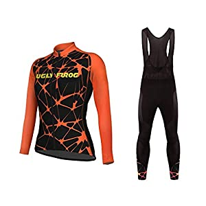 Sports Wear UGLYFROG Ropa Ciclismo Otoño/Invierno/Mujer - Cicicleta de montaña Ciclismo Maillot MTB de Manga Larga y Culotte Pantalones Acolchado 3D Sets