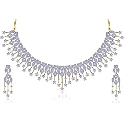 JDX American Diamond Gold Plated Necklace Set for Women and Girls